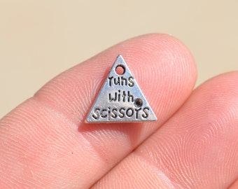 10 Silver Runs with Scissors Charms SC2287