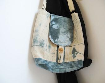 Casual Canvas Bag, Denim and Canvas, Shoulder Bag, Paint splatter bag, Blue and natural bag OOAK