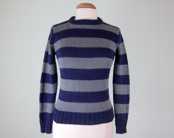 80s sweater / purple & grey striped crewneck knit top jumper (xs - s)