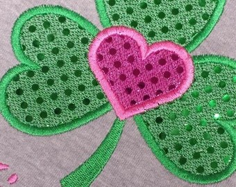 Shamrock St. Patrick Day Custom Personalized Girls shirt Appliqued Embroidered