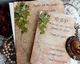 Vintage Romantic Ivy Wedding Invitation Handmade by avintageobsession on etsy