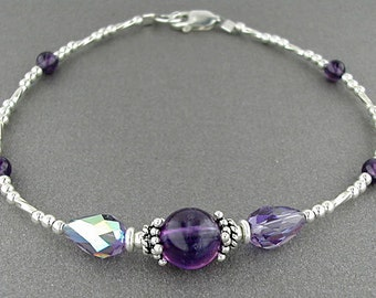 Amethyst Ankle Bracelet in Sterling Silver with Amethyst Center Station - 9, 10, 11, or 12 Inches