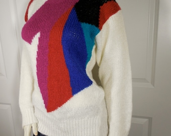 Abstract Vintage Off White Color Block Sweater