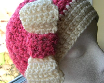 Pink and Cream Crochet Hat with Bow