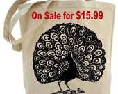 Dancing Peacock - Eco Friendly  Tote Bag - Canvas tote bag