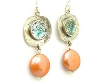 Roman glass earrings, copper pearls chandelier