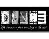 DANCE  Inspirational Plaque black & white letter art