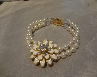 wedding bracelet bridal pearl bracelet rhinestone flower bracelet enamel flower mum bracelet