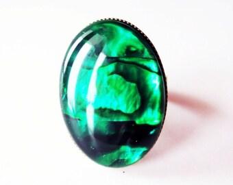 Green paua ring.  Paua shell ring.  Emerald green ring.  18x25 ring.  Green paua shell.  Abalone ring.