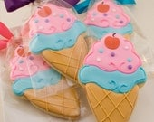 Ice Cream Cone Cookies - 12 Decorated Sugar Cookie Favors