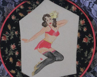 Vintage Pin Up Girl Hoop Art, Burlesque inspired hoop art