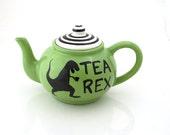 Tea Rex Teapot, t-rex dinosaur, large tea pot, ceramic teapot kiln fired holds 4 to 6 cups