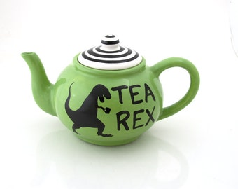 Tea Rex Teapot, t-rex dinosaur, large tea pot, ceramic teapot kiln fired holds 4 to 6 cups