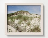 Beach Dunes Photography, nautical seaside wall art and room décor, New England, Tan Brown Sand, Colorful Bright Coastal Art