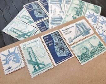 New York ..  New York  .. UNused Vintage Postage Stamps  .. post 5 letters