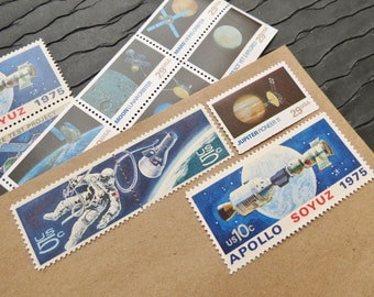 Space .. Explore .. UNused Vintage Postage Stamps  .. post 5 letters