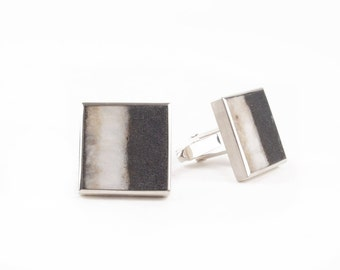 cuff links with pebble stones