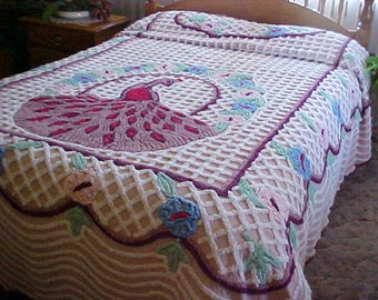 Plush chenille peacock bedspread- white chenille basket weave- peacock- chocolate feathers