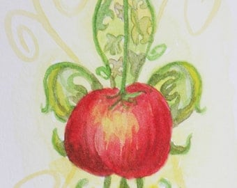 Creole Tomato Fleur de Lis original watercolor New Orleans