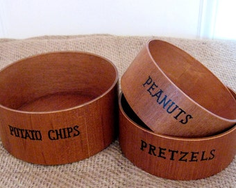 Mid-Century Snack Serving Bowls - Wood