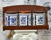 3 vintage ceramic KNORR jars with wooden lids and wooden shelf...   Home Decor...   L U 0