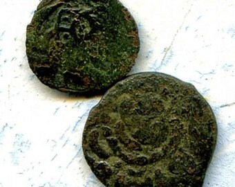 2 UNCLEANED coins from a dig,antique objects, something  curious, antique metal coin, coolvintage, collectibles, patina, old, age, 33K
