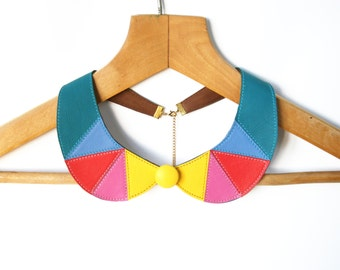 Colorful Necklace Yellow, Pink, Corall and Teal Blue Leather Collar Necklace Peter Pan Detachable Collar Neon Necklace