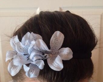 Blue Flower Elastic Headband