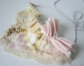 Lace Bridal Necklace // Pink and Pearly Bib Necklace // Textile Choker