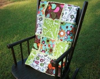 Plush green, aqua blue, orange, white, brown frayed rag baby quilt blanket
