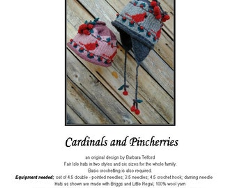PATTERN ONLY Cardinal and Cherries Ear Flap Hat for 6 sizes