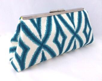 Teal Clutch Geometric Handbag Clutch Custom Made Teal Gift for Bridesmaid or Bride