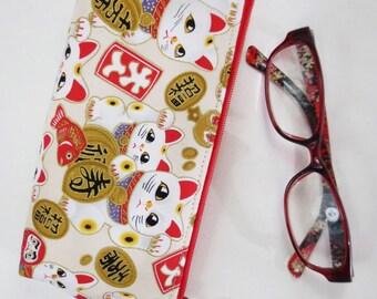 Maneki-neko Eyeglass Case/ Zipper Pouch - Auspicious Motif in Cream