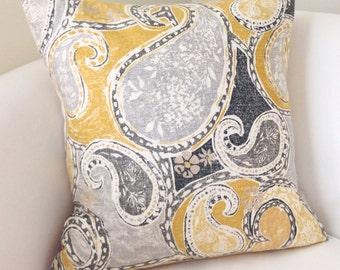 Grey Yellow Pillow Cover Decorative Throw Pillow Cushion Accent Pillow Gray Toss Pillow