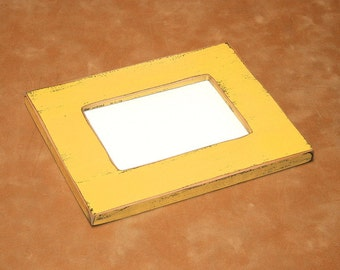 "Chunky yellow  colored picture frame 4x6 or 5x7 distressed 2.25"" wide or choose your color ( 63 COLORS)"