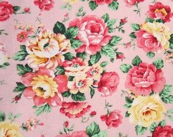 2473A -- Pretty Rose Flower Fabric in Pink, Rose Floral, Full Yard
