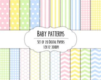 Baby Patterns Digital Scrapbook Paper 12x12 Pack - Set of 20 - Instant Download - Item# 8093
