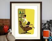 Eames Loungechair A3 Artprint