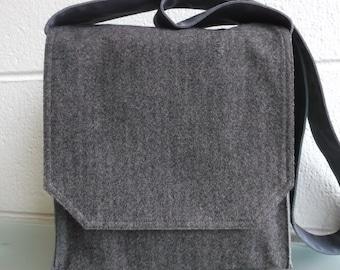 Dark Brown Herringbone Wool Messenger Bag