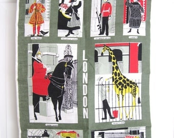 Vintage Souvenir London Towel by Ulster Cartoon Characters