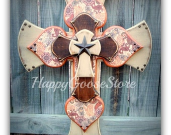 Wall CROSS - Wood Cross - X-Large - Antiqued Beige and Stain with Bronze Paisley Print
