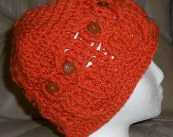 Crocheted  Child Hoot Owl Hat - Carrot