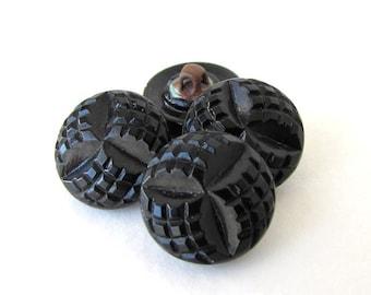 Vintage Czech Buttons Jet Black Glass Shank Navette Embossed 14mm but0241 (4)