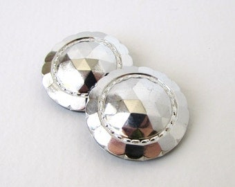 Czech Glass Buttons Black Flower Silver Faceted Sewing Shank 28mm but0251 (2)