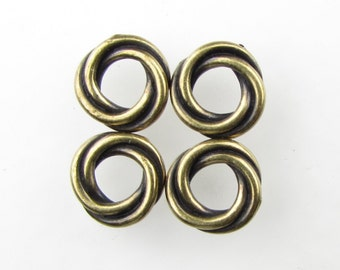TierraCast Twisted Spacer Bead Antiqued Brass Ox Ring Connector Link Bronze Finding 10mm cmb0055 (4)