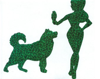 Malamute and Pin Up Silhouette, Green Glitter Vinyl Decal
