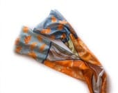 Hand painted scarf. Ginkgo leaves scarf in tangerine orange, grey and taupe. Long fashion scarf paint by hand. Christmas gift for mom