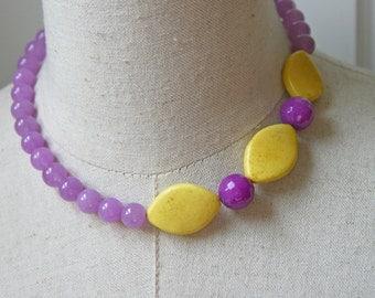 Yellow purple Chunky Beaded Necklace Lemon  lavender Violet Asymmetric Sunshine