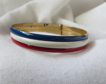Vintage metal red white blue bangle bracelet set.