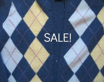 SALE - Supply - Felted Wool Sweater - Blue Argyle - Recycled Fabric Material